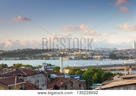 ISTANBUL TURKEY - JUNE 19 2015: Panoramic view of european part of Istanbul on sunset Turkey