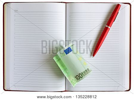 Money euro cash. money and pen on a notepad