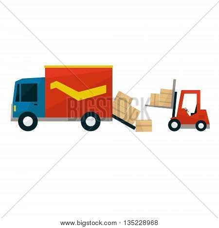 Boxes Falling Out From Cargo Truck And Forklift Machine Simplified Flat Vector Design Colorful Illustration On White Background