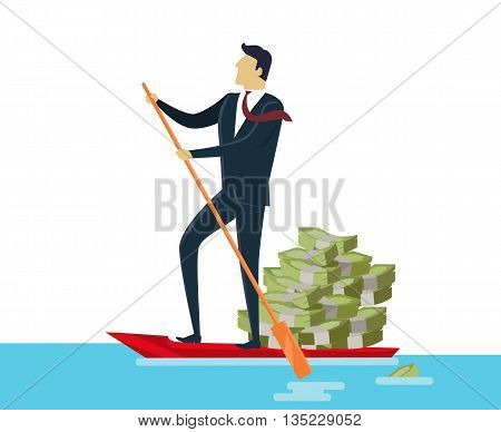 Man and money and ride in boat in flat style. Man rolls cash on gondola. Appointment of dollar in boat on pond. Vector illustration
