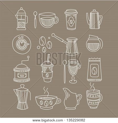 Coffee Related Sketch Set Of Hand Drawn Vector Doodle Style Icons On Brown Background