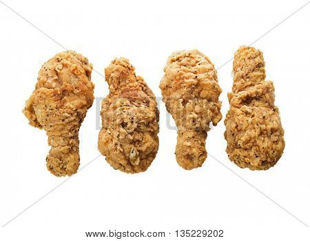 fried chicken wings isolated on white background