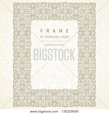 Vector Frame In Victorian Style.