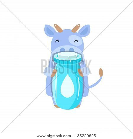 Cow Holding Plastic Milk Bottle Flat Childish Simple Style Vector Drawing Isolated On White Background