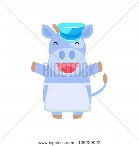 Happy Cow In Farmer Apron Flat Childish Simple Style Vector Drawing Isolated On White Background