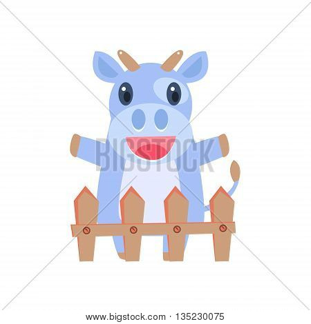 Happy Cow Behind Wooden Shed Flat Childish Simple Style Vector Drawing Isolated On White Background