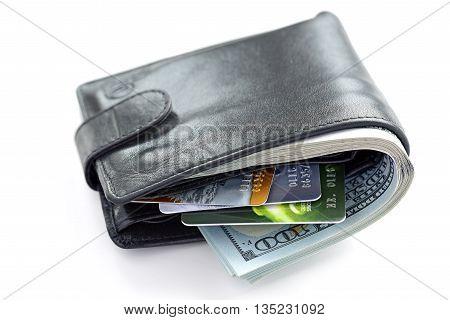 Money close up. Money in wallet. dollars