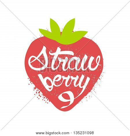 Strawberry Name Of Fruit Written In Its Silhouette Colorful Trendy Vector Design Sticker Isolated On White Background