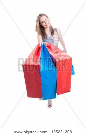 Smiling Female Buyer With Shopping Bags Looking Happy
