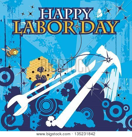 Labor Day caption with tools on a blue grungy background