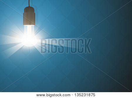 Bulb light in the dark. Realistic vector design. Lightbulb backgorund. Glowing lightbulb on dark backgrounds. Vector lightbulb on a blue backgrounds.