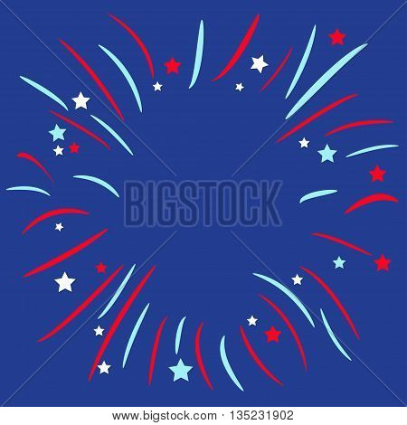 Fireworks ball. Star and strip. Blue background. Template. Flat design Vector illustration
