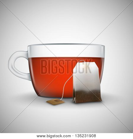 Cup of black tea with bag of tea isolated on white background. Bag of black tea. Cup of tea isolated.