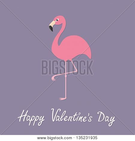 Pink flamingo standing on one leg. Exotic tropical bird. Zoo animal collection. Cute cartoon character. Happy Valentines day. Love greeting card. Decoration Flat Violet background.Vector illustration