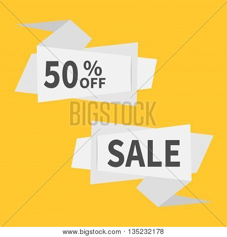 Origami paper banner set. Abstract geometric price tag sticker. Big sale off promotion. Special offer. Yellow background. Isolated. Flat meterial design style. Vector illustration