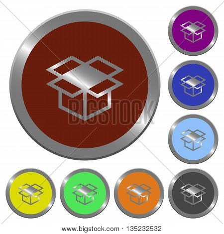 Set of color glossy coin-like open box buttons.