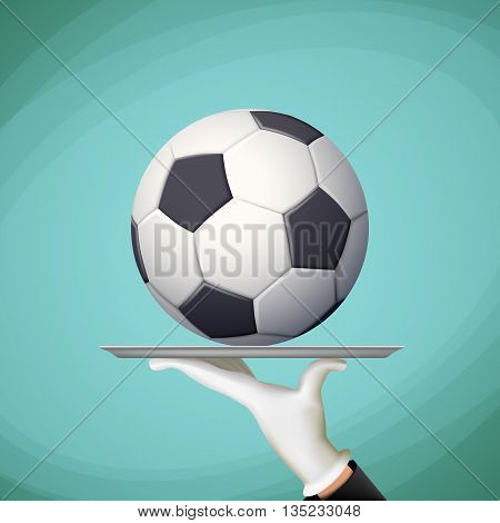 Waiter holding a tray with a soccer ball. Stock vector illustration.
