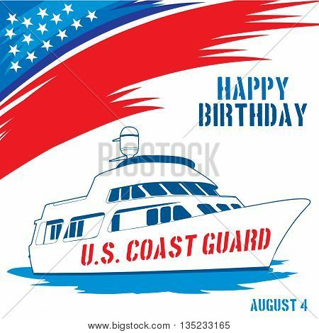 An abstract illustration with United States flag colors for United States Coast Guard birthday