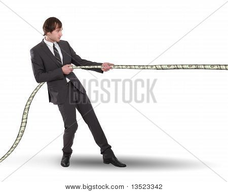 young business man pulling the rope