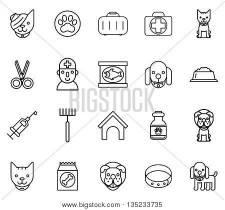 Veterinary line icons. Pets veterinary thin line signs. Pet and veterinary, dog veterinary, cat veterinary. Vector illustration