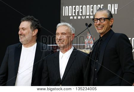 Jeff Goldblum, Roland Emmerich and Harald Kloser at the Roland Emmerich Hand And Footprint Ceremony held at the TCL Chinese Theatre in Hollywood, USA on June 20, 2016.
