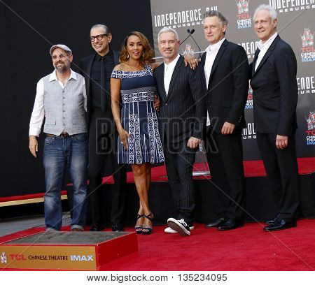 John Storey, Jeff Goldblum, Vivica A. Fox, Bill Pullman and Brent Spiner at the Roland Emmerich Hand And Footprint Ceremony held at the TCL Chinese Theatre in Hollywood, USA on June 20, 2016.