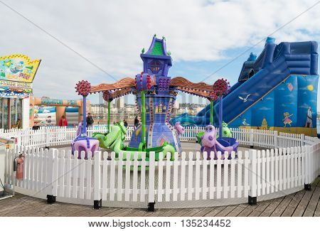 BRIGHTON UK - OCTOBER 20 2015: closed carousel on the famous brighton pier.