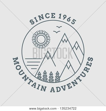 Mountain line landscape vector poster. Mountain line logo poster, mountain nature, hill mountain logo illustration