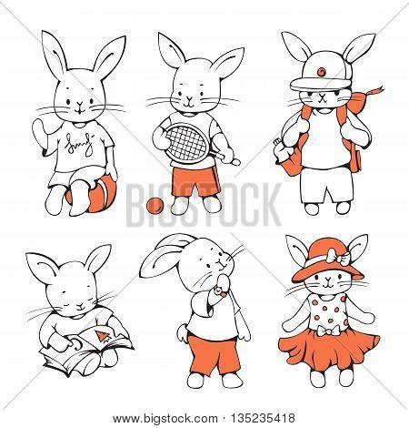 Illustration of funny cartoon Bunnies. Hand-drawn illustration. Vector set.