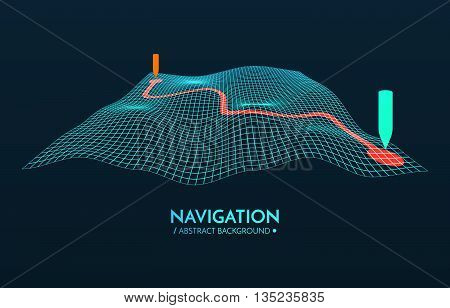 GPS navigator vector background. 3d technology vector map. Vector illustration