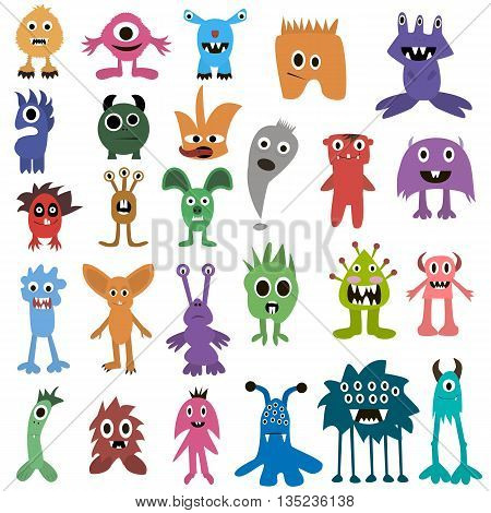 Cartoon Monsters Big Set. Colorful Toy Monster, Cute Monster. Monster Flat, Monster Alien, Monster K