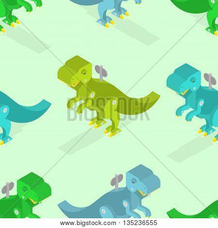 Toy Dinosaur Seamless Pattern. Clockwork Tyrannosaurus Rex Isometrics. Prehistoric Lizard Texture. C