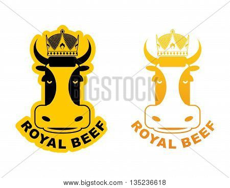 Royal Beef Logo. Cow In Crown. Logo For Production Of Meat. Excellent Quality And Taste Of Food. Mea