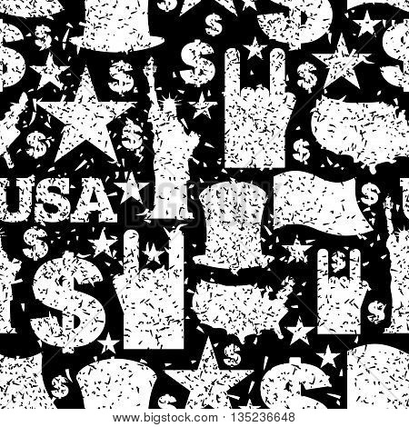 Usa Patriotic Symbol Seamless Pattern Grunge Style. Spray Paint And Brush Strokes Texture. American