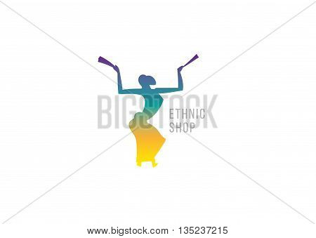 Dancing girl with fans. Creative logo ethnic shop