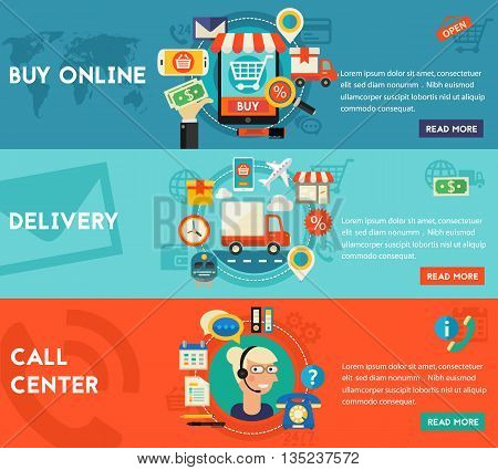 Call Center, Online Shopping and Delivery concept banners. Flat style vector illustration online web banners