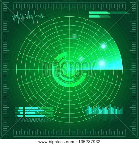 Green radar screen. Vector illustration for your design. Technology background. Futuristic user interface. HUD. Vector EPS10.