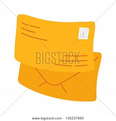 Yellow envelope icon. Yellow envelope with one counter notification. Vector illustration isolated on white background