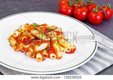 Pasta with Tomato Sauce Ketchup and Saffron Studio Photo