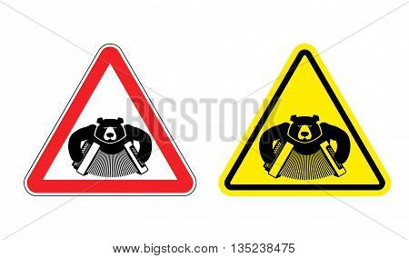 Warning Sign Drunk Russian Tourist Attention. Dangers Yellow Sign People From Russia. Bear With Acco