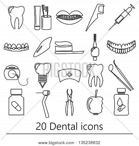 Set Of Dental Theme Black Outline Icons Eps10
