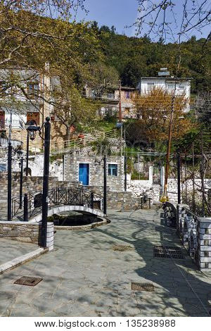 Center and old houses of village of Panagia, Thassos island,  East Macedonia and Thrace, Greece