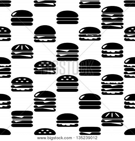 Hamburgers Types Fast Food Icons Seamless Pattern Eps10