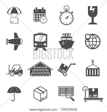 Logistic icons set. Concepts of delivery, shipping process, ecommerce and logistics
