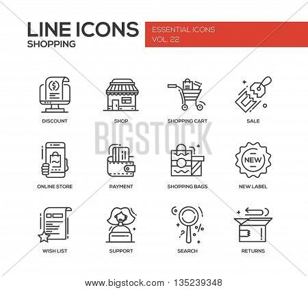 Set of modern vector line design icons and pictograms of shopping process elements. Discount, shopping cart, shop, sale, online store, payment, shopping bags, new label, wishlist, support, search, returns