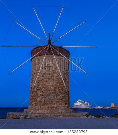 The famous windmills at the Mandraki Harbour, Rhodes Greece