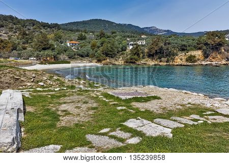 Panorama to Archaeological site of Aliki, Thassos island,  East Macedonia and Thrace, Greece