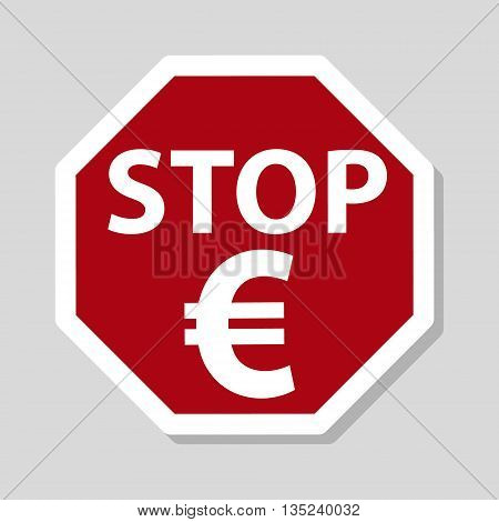 Color Euro Currency Red Stop Sign Eps10