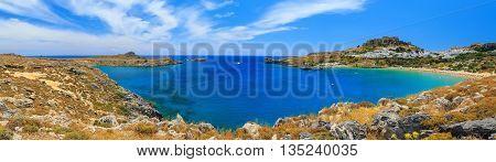 St. Paul Bay near Lindos, Rhodes sunny day