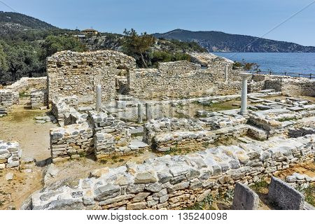 Panorama to Ruins of ancient church in Archaeological site of Aliki, Thassos island,  East Macedonia and Thrace, Greece